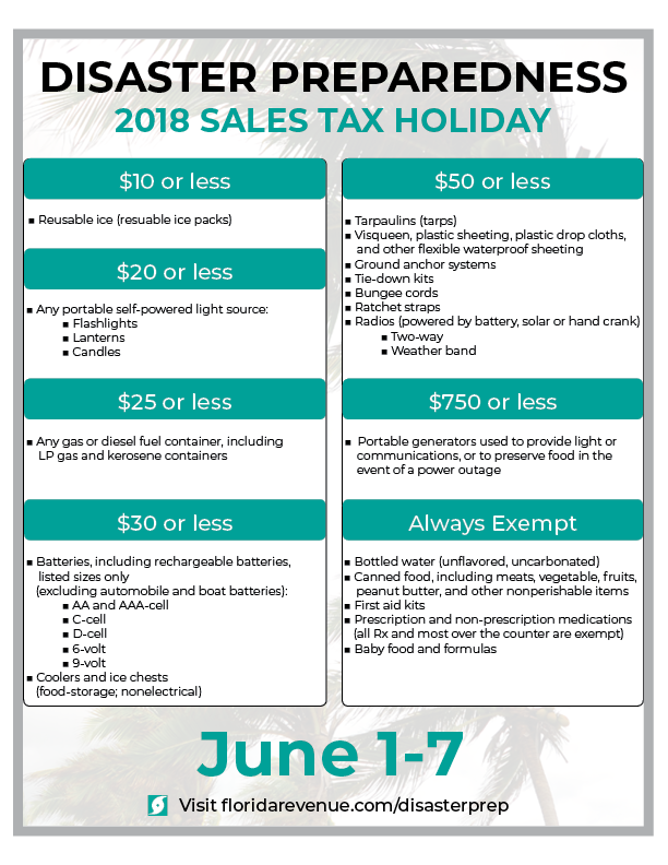 Florida Disaster Preparedness Sales Tax Holiday Poster